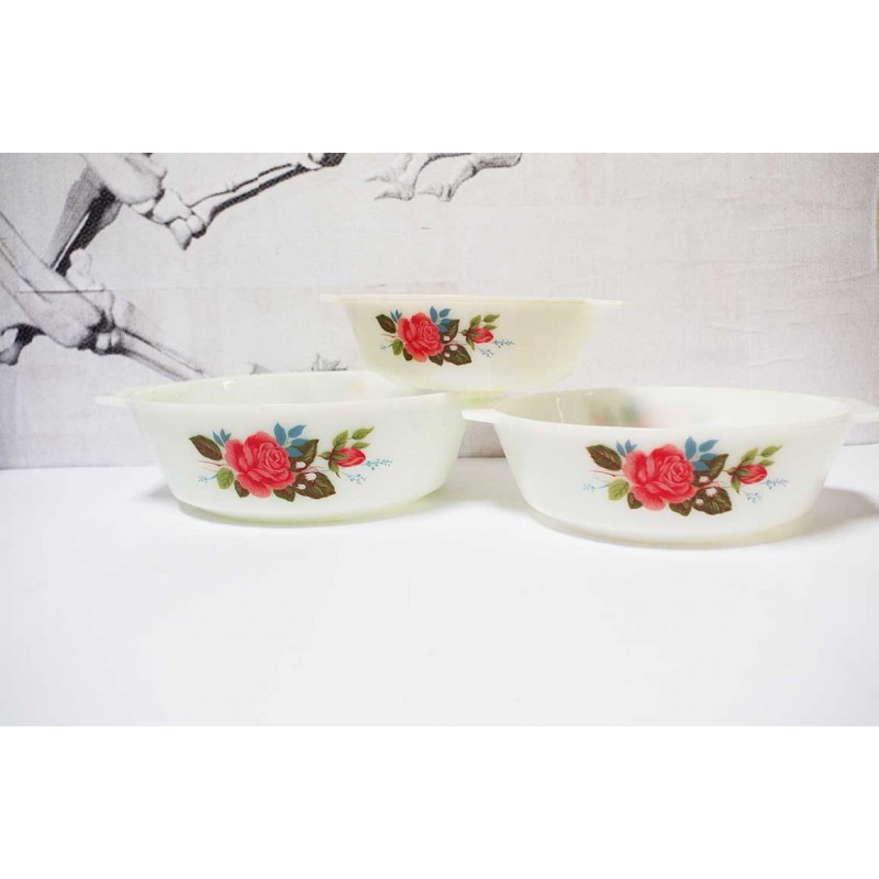 Rose Dish Blue Leaves Set